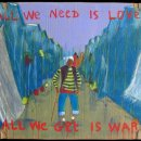All we need is love, all we get is war. 2008 Acrylique et divers sur carton. 20x118